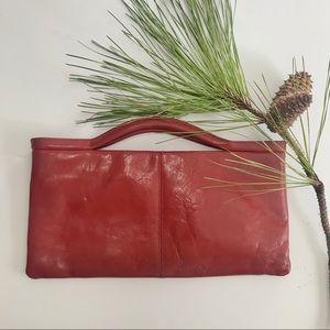 HOBO INTL Crimson Leather Clutch WIth Handles